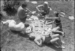 Ungdom på picnic