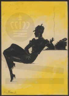 95c3790c89e Creator: Brasch, Sven (1886-1970) bladtegner; Description: En kvinde set i  silhuet, der sidder og ryger., Tekst på tegningen: