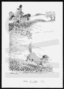 243667d6036e 1939) bladtegner  Beskrivelse  Kirsten Jacobsen forfølger Ole Stavad i form  af en ræv til hest.