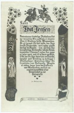 Dokument fra Københavns kvindelige Diskussionsklub til Thit Jensen, som udnævnes til æresmedlem