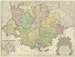 Le Comte et Gouvernement de Provence avec les terres adjacentes; divisé senechaussees, et en vigueries. selon les memoires de Honoré Bouche, Robert de Briancon, Petré, et de plusieurs autres autheurs