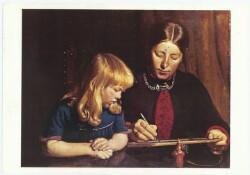 Anna Ancher tegner for Helga, julenissen står model, 1888