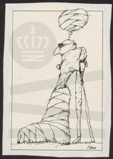 5e966cfe88c ... Per Marquard (f.1944) bladtegner; Beskrivelse: Lille mand med lange ben  og den ene fod i gips., Illustration til debatindlæg eller kronik og Tusch