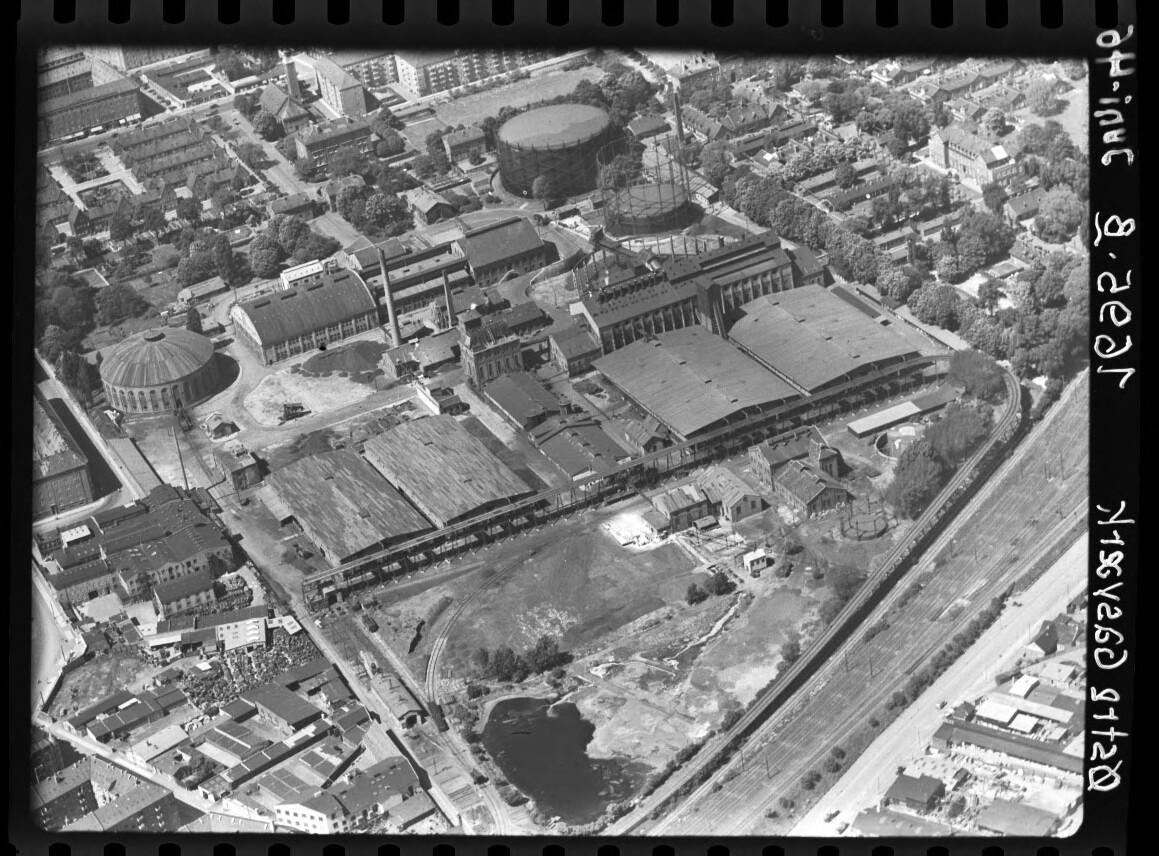 Skråfoto fra 1946 taget 45 meter fra Sionsgade 5